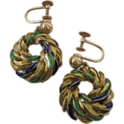 Circa 1949 18 Karat Gold and Enamel Earrings from Beverly Hills Estate