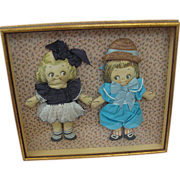 Shadowbox Framed Display of Arnold Print Works Dolls Dolly Dingle and Billy Bumps