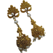 Filigree Earrings Dating from the 1860s