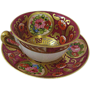 SOLD Miniature China Cup and Saucer for Doll Marked Staffordshire Made in England