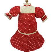 SOLD Charming Antique Red Polka Dot Cotton Dress for Doll