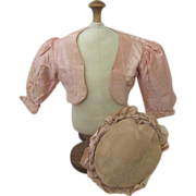 Lovely Pink Silk Jacket and Bonnet Hat for French Bebe