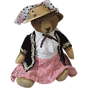 Adorable Antique Mohair Teddy Bear Dressed as Victorian Lady