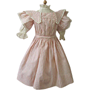 SOLD Exquisite Pink Candy Stripe French Bebe Dress for Antique Doll
