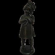 Darling Bronze Figure or Statue of Girl Hugging Teddy Bear My Dear Teddy