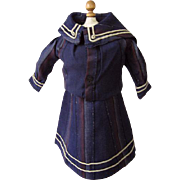 Wonderful Antique Two Piece Nautical Sailor Dress for Antique Doll