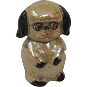 Sweet Vintage Iridescent Porcelain Perfume Bottle with Dauber Pug Style Dog