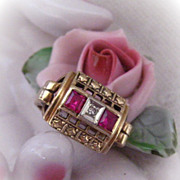 10 Karat Gold Ruby and Diamond Victorian Era Ring