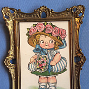 Antique Tuck Postcard Dolly Dingle Googly Campbell Kid in Ormolu Picture Frame