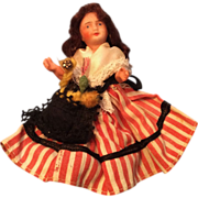 SOLD French Bisque Head Doll All Original Clothes Striped Skirt - Red Tag Sale Item