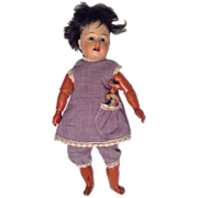 "7.5"" German Brown Bisque Doll Fully Jointed Compo Wood Body"