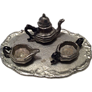 Miniature Pewter Dollhouse Doll Tea Set Teapot Cream Sugar & Tray