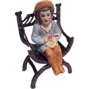 All Bisque Doll Shelf Sitter Bent Legs & Molded Hat for Antique Dollhouse