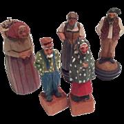 5 Hand Carved Wood Vintage Doll Group