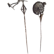 2 Vintage Figural Hatpin Trembling Flowers Metal Bird Hat or Hair Pin Set