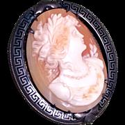Vintage Cameo Brooch in Sterling Silver Greek Key Pin Frame