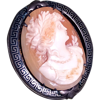 Vintage Cameo Brooch in Sterling Silver Greek Key Pin Frame