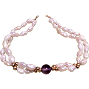 SALE PENDING Pearl Bracelet 14K Gold Beads Clasp Amethyst Bead