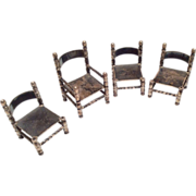 SALE Miniature Sterling Silver Dollhouse Doll Chair Set Dutch Hallmarks