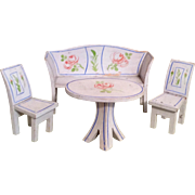 Beautiful Vintage Painted Wood Doll Furniture Table 2 Chairs Settee