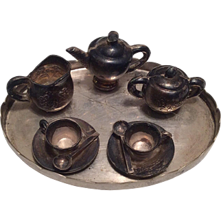 Miniature Sterling Silver English Tea Set with Tray for Dollhouse Doll