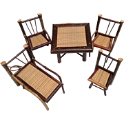 SALE Bamboo Wood Dollhouse or Doll Size Vintage Furniture Table Chairs Lounger 5 Piece