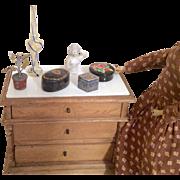 6 Doll Dresser Item Vintage Accessories Lamp Box Half Doll Metal Flower Pot