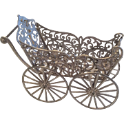 SOLD Antique Miniature Soft Metal Dollhouse Doll Carriage Pram