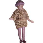 "SOLD Tiny 2"" All Bisque Flapper Doll Crochet Clothes Molded Tam Hat"