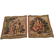 SOLD 2 French Vintage Petit Point Tapestry Miniature Doll or Dollhouse Size Rug or Wall Hangin