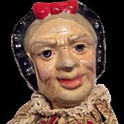 Molded Bonnet Old Woman Character Papier Mache Head Doll Wood Feet Puppet