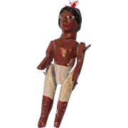 Tiny Wood Miniature Jointed Doll Folk Art Native American Indian
