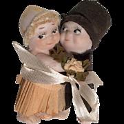 SOLD All Bisque Antique Kewpie Doll Huggers Bride Groom Wedding Cake Topper