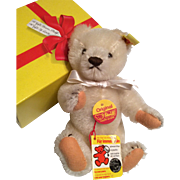 Steiff Teddy Bear with Button Tags and Original Box