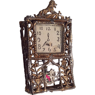 Vintage Soft Metal Wall Clock for Dollhouse Doll