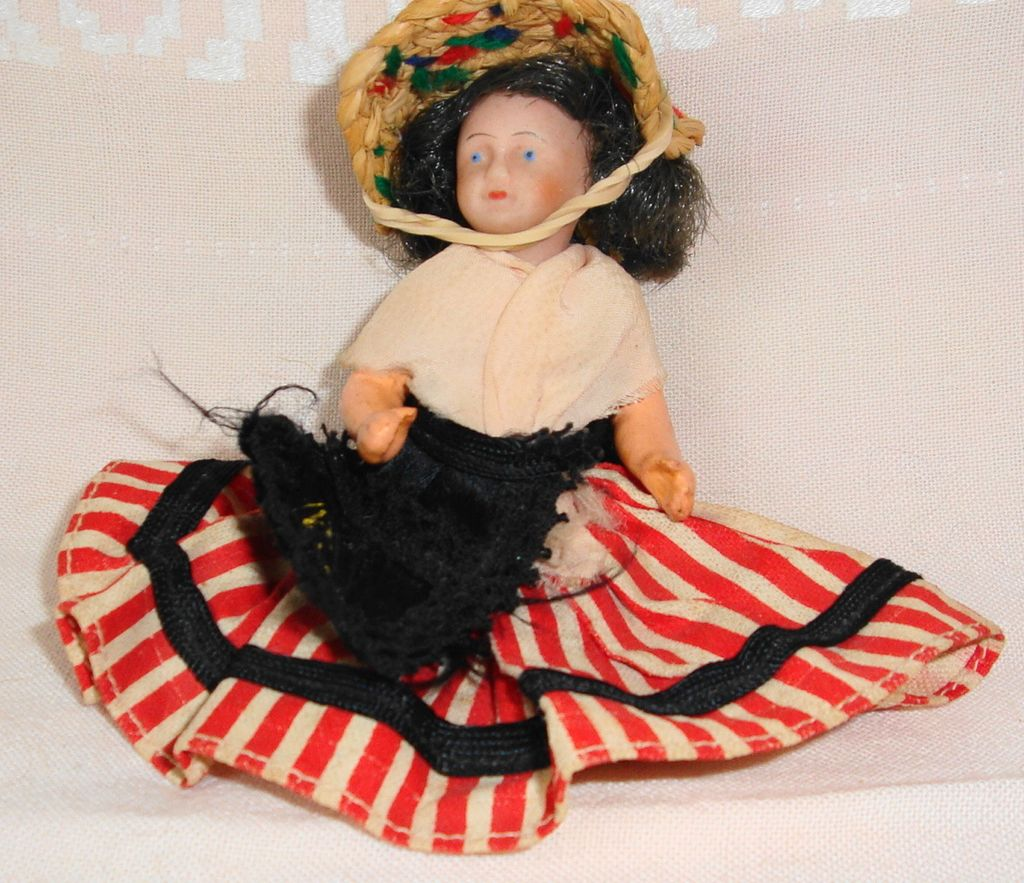 French Bisque Dollhouse Miniature Doll All Original