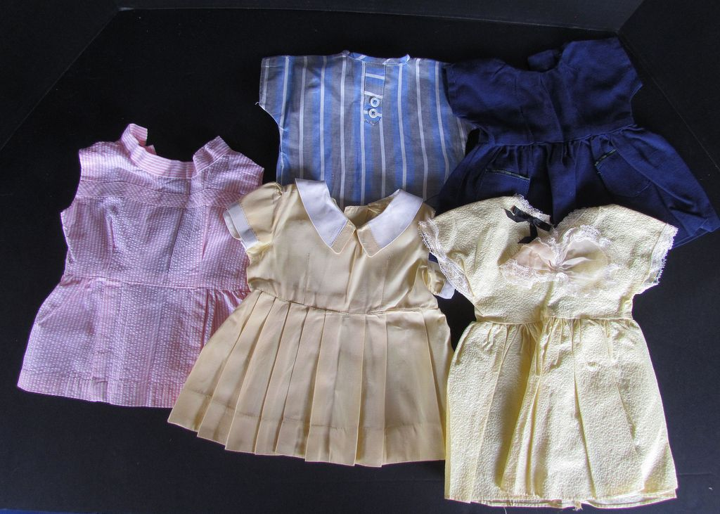 Nice Lot of Vintage Doll Dresses  and One Top for Composition or Hard Plastic Toddler Doll