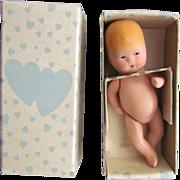 "Adorable 4 l/4"" Antique Kerr & Hinz Painted Bisque Baby in Original Box"