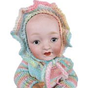 """Adorable 10 ½"""" Bisque Head Character Baby on Composition Body, resembles Kestner, circa 1910"""