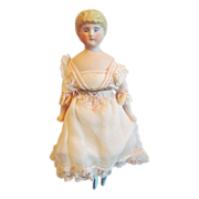 "Lovely Antique 7 ¾"" Bisque Shoulder-head Dolls' House Doll, German, circa 1925"