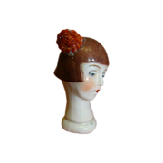 REDUCED 2-1/8 In. German Flapper Head Half Doll with Flower in Hair