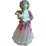 Royal Doulton Fine Bone China Figurine of Girl with Dog, Called My First Figurine