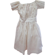 Antique Cotton Dress for a Large Doll, Ecru Dotted Design on White