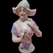 3-1/4 In. German China Glazed Half Doll, Arms Away, Dutch, Holding Flower