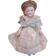 4 In. German All Bisque Doll with Painted Eyes, Original Wig