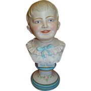 12 In. Antique Porcelain Bust of Young Lad, Intaglio Eyes