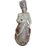 13-3/4 In. French Antique Very Beautiful Corday Porcelain Lady, Draped Lace