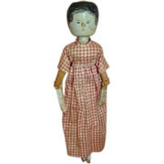 SOLD Early 20th Century Wooden Doll in Original Handmade Dress