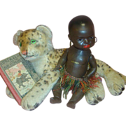 Antique Black Heubach Koppelsdorf #399 Closed Mouth Character, Steiff Leopard and Little Black