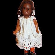 9 In. German Bisque Head Black Doll Original 5-Pc. Body, Mold #201 DEP